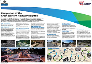 View or download the Completion of the Great Western Highway upgrade (PDF, 6.7MB).