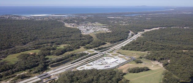 Aerial view of the Nambucca Heads Highway Service Centre, looking south-east