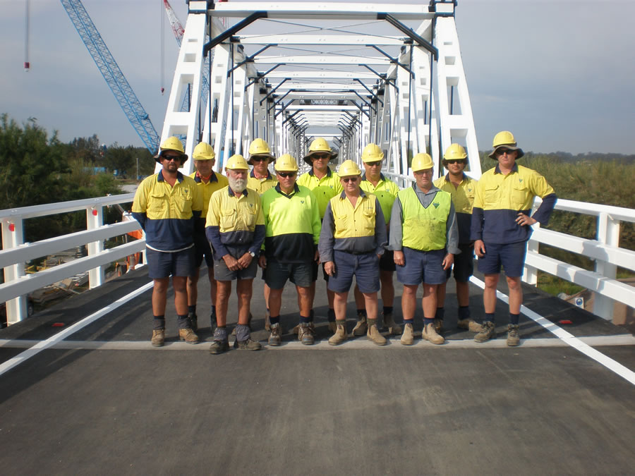Part of the Roads and Maritime crew who worked on the bridge upgrade (Oct 2012)