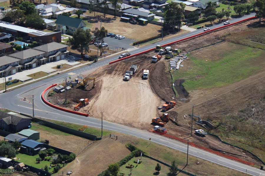 Construction underway on the now completed improvements on the Golden Highway at Denman