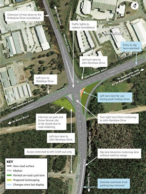 Map of the M1 Pacific Motorway, Weakleys Drive and John Renshaw Drive proposed upgrade