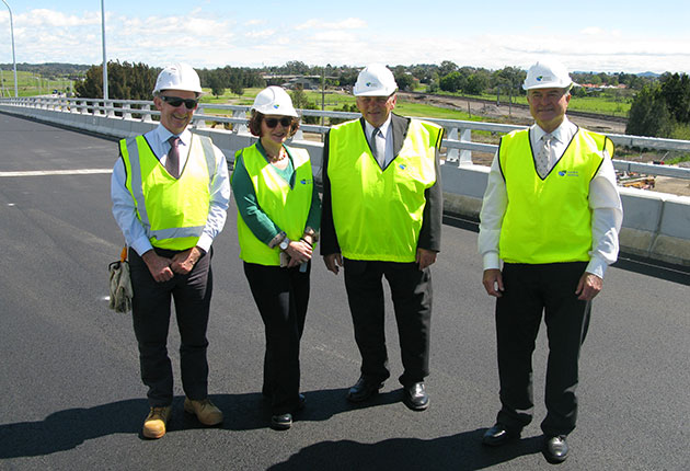 Pictured from left:  Peter McTackett, Senior Project Manager, Roads and Maritime Services; Anna Zycki, Regional Manager & Executive Coordinator, Roads and Maritime; Maitland City Council Mayor Peter Blackmore; Deputy Mayor Cr Bob Geoghegan enjoy the views from the new eastbound overpass at Maitland.