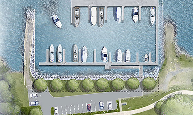 A drawing of the planned new Stockton Boat Harbour