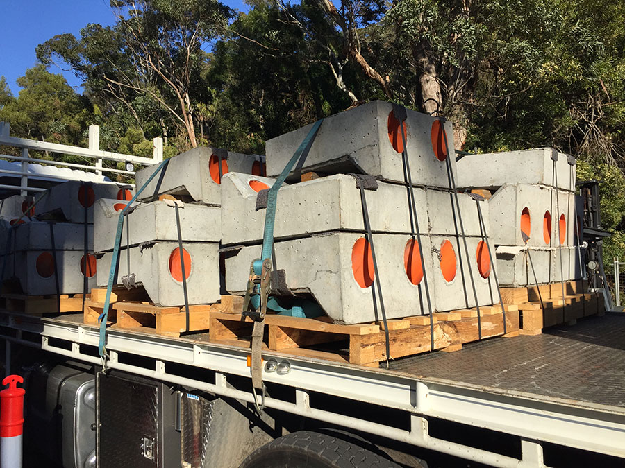 Stage 2 - Precast concrete pad footings for the rock fall protection barrier posts