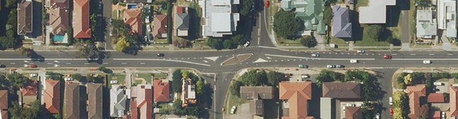 Aerial view of the intersection of Bourke, Keira and Virginia streets, Wollongong