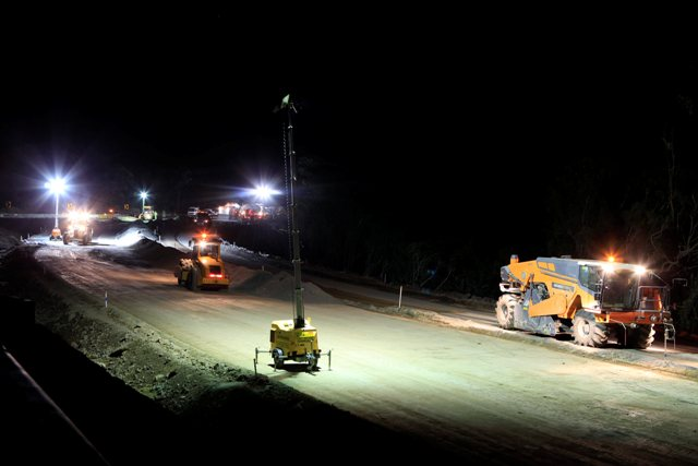 Nightwork on reverse curves working with heavy equipment under lights