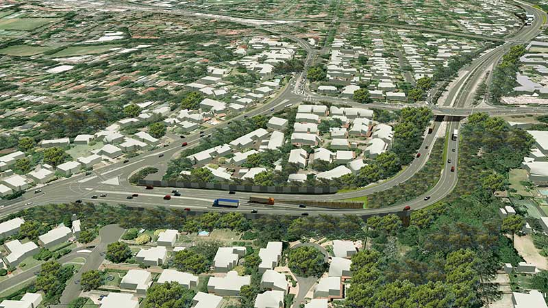 Artist impression of aerial view of Northern Interchange from the North East