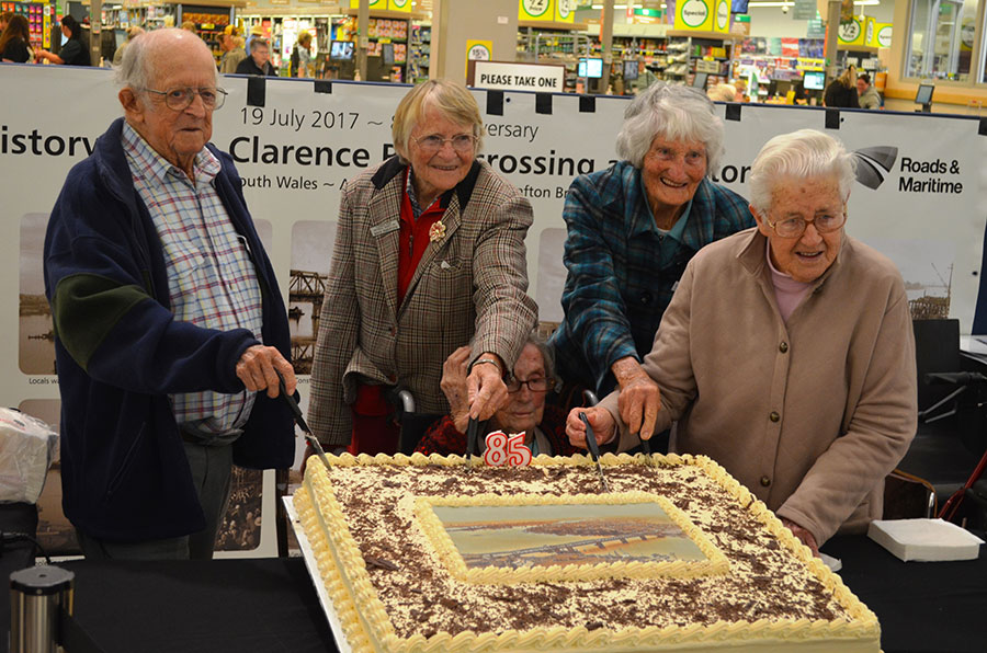 Residents at 1932 Grafton Bridge opening  join in the 85th birthday celebration (July 2017)