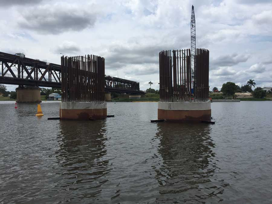 Pier construction underway in the Clarence River (January 2018)
