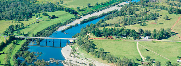 Aerial view of the Gwydir Highway and Mann River Bridge at Jackadgery, west of Grafton