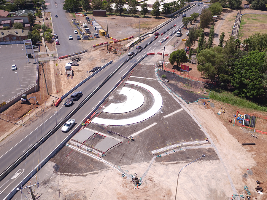 Aerial view of the new roundabout being built at the Marius Street intersection on Manilla Road