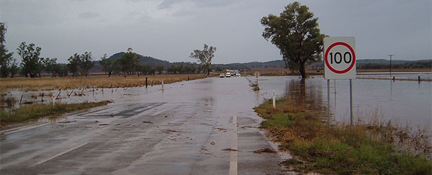 Water over the Oxley Highway at Hoss Causeway, east of Carroll