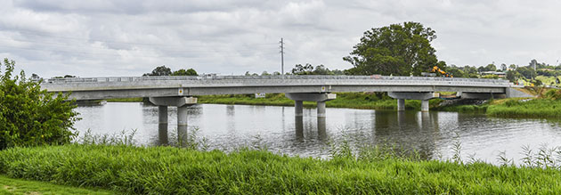 New Sportsmans Creek Bridge looking west