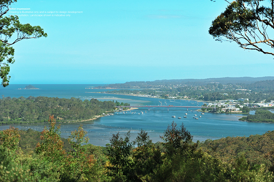 View of new bridge from Holmes Lookout, west of Batemans Bay