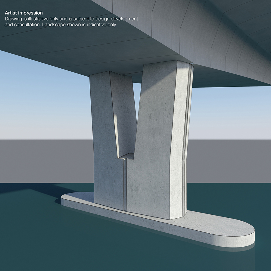 View of piers. There will be fewer piers for improved safety and design.