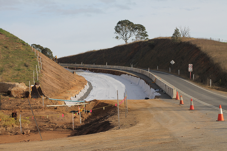 Looking across the Bemboka Bridge works from the western side