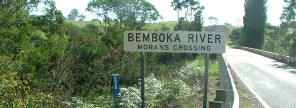 Bridge with sign: Bemboka River – Morans Crossing