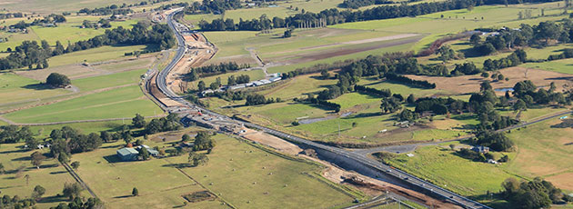 Aerial view of work on the Princes Highway between Berry and Bomaderry.