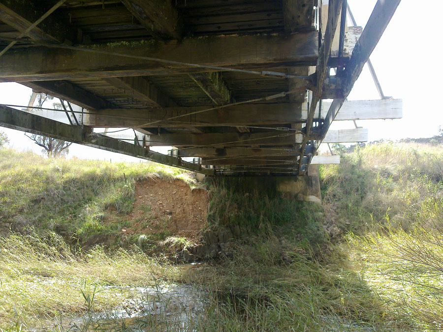 Beneath the deck of the existing bridge [Mar 2012]