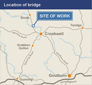 View or download the Crookwell Bridge site location map (JPG, 89KB)