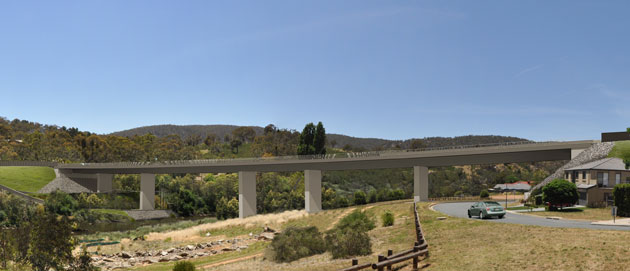 Artist's impression of the new bridge across the Queanbeyan River