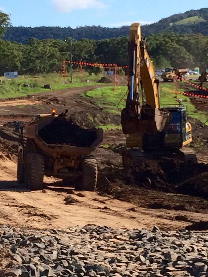 Work progressing to build the side track next to the Princes Highway near Tindalls Lane - February 2015