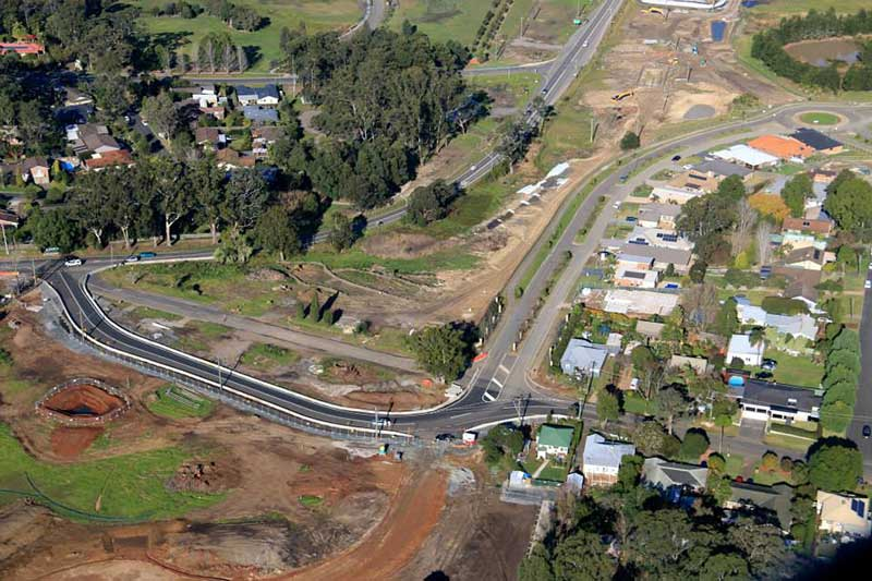 Aerial view of temporary road next to the Kangaroo Valley Road looking south - June 2015