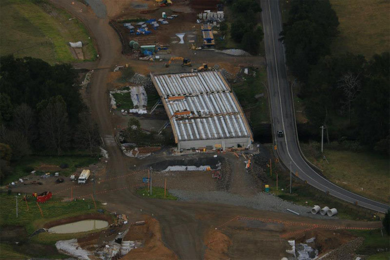 Aerial view of Broughton Creek bridge site 1 under construction, looking south - August 2015