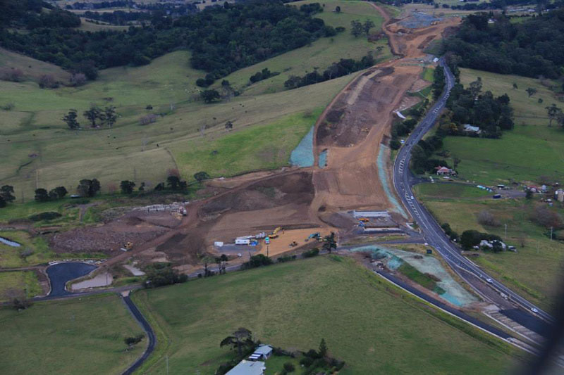 Aerial view of the cutting at Toolijooa Ridge near Toolijooa Road looking south - August 2015