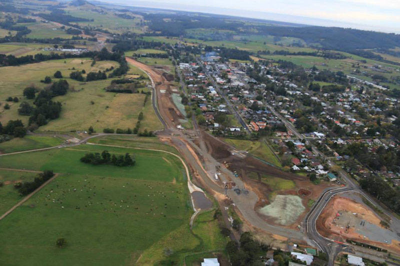 Aerial view of the new road under construction near North Street, looking north east - August 2015