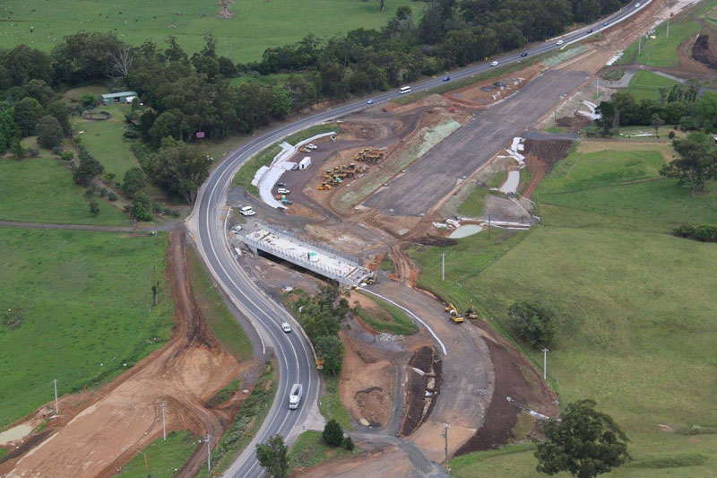 Looking south at the new Tindalls Lane interchange being built - October 2015
