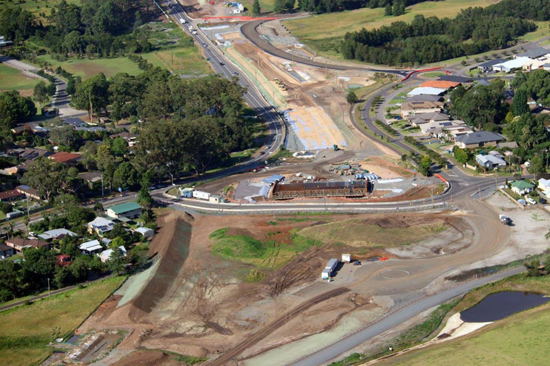 Looking south west across the new Kangaroo Valley Road interchange - December 2015