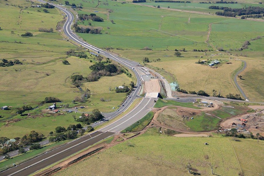 Aerial view looking east at the new highway towards Gerringong - August 2016