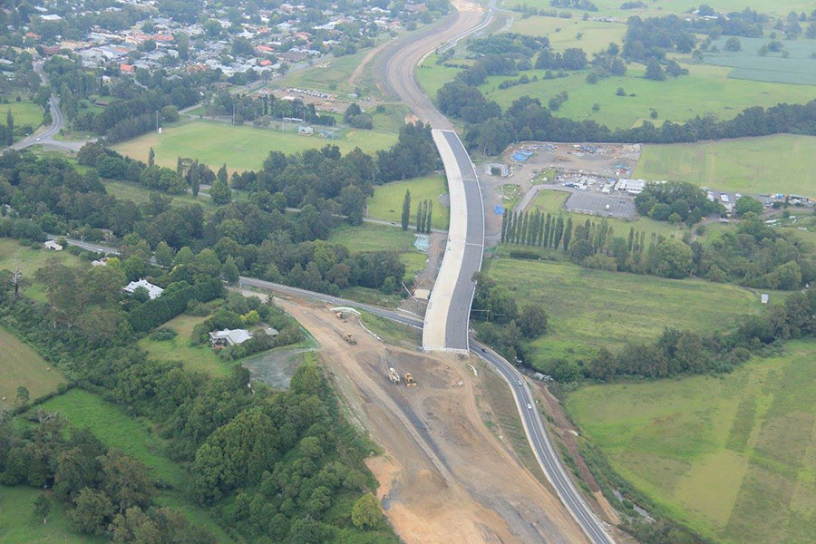 Looking south west at the Berry northern interchange being built and bridge at Berry