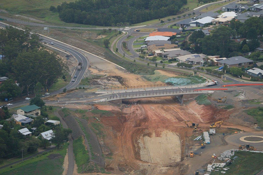 Looking south at excavation work taking place under the new Kangaroo Valley Road bridge