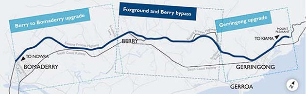 Berry to Bomaderry upgrade map – upgrade divided into three projects