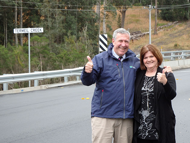 Photo of opening of $21 million Princes Highway upgrade at Termeil Creek