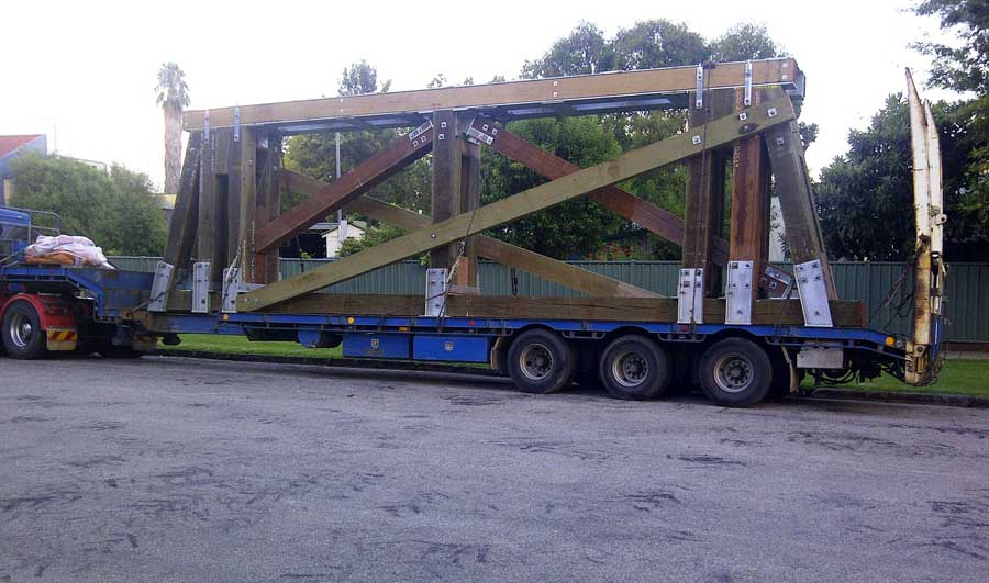 New timber pier as transported & ready to lift into position [May 2014]