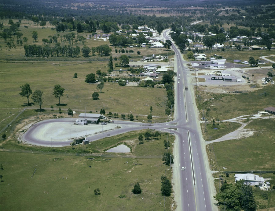 Aerial of the Heavy Vehicle Checking Station on the Hume Highway, SH2, Marulan [Dec 1966]