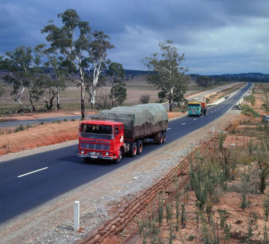 Trucks on the Hume Highway north of Marulan [Mar 1968]