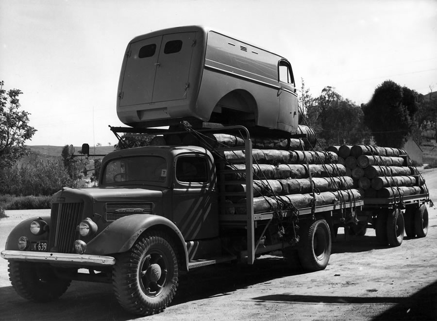 A heavily laden 'White' lorry with trailer at Jugigong approx 360km south of Sydney [Oct 1947]