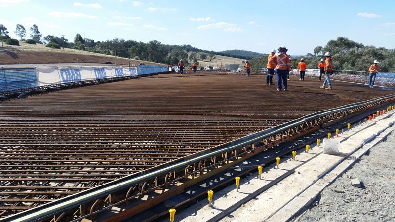 Reinforcement on the bridge deck at span one is finished and ready for concrete
