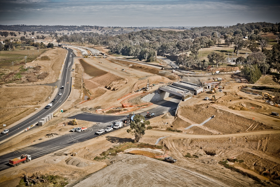 Aerial view of Mates Gully Road intersection under construction [May 2011]