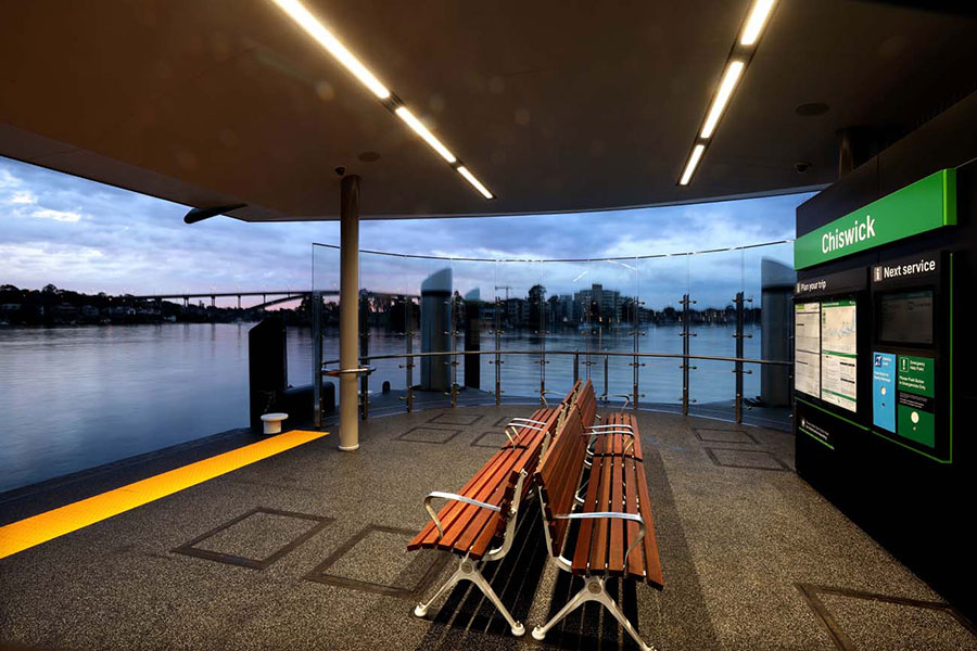 Improved seating and waiting area at Chiswick Wharf