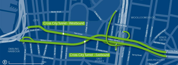 Cross City Tunnel map