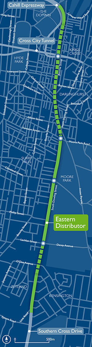 map showing Eastern Distributor running from Southern Cross Drive to the Cahill Expressway over and underground.