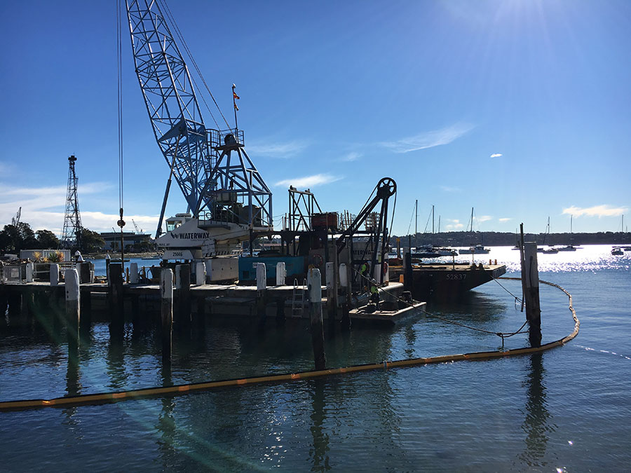Construction barges with equipment