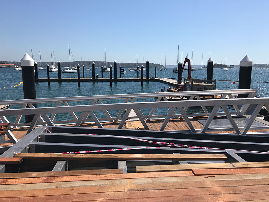 Decking and berths being constructed