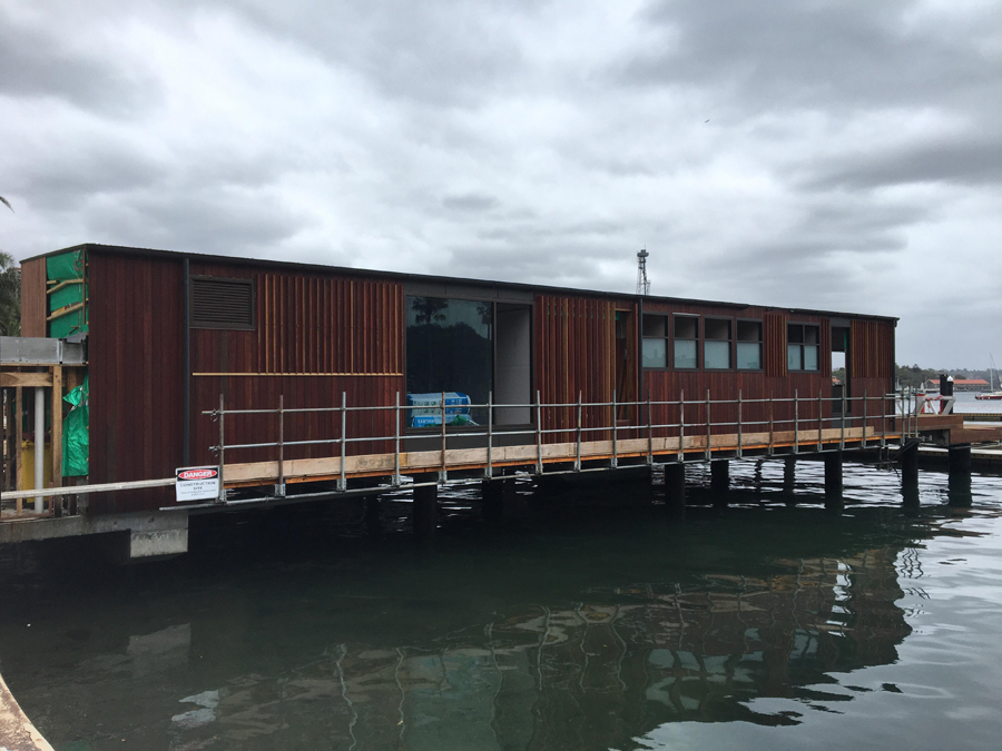 Marina structure in final stages of completion