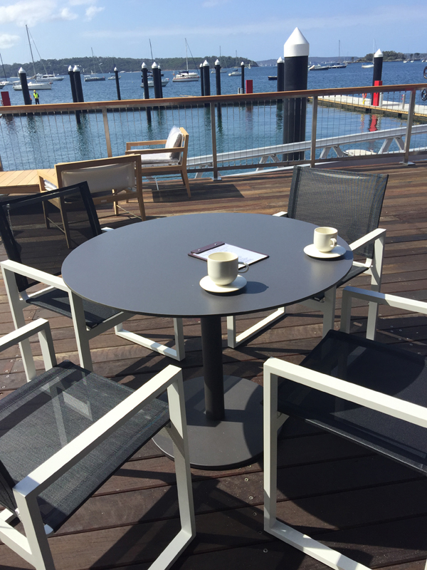 outdoor seating facing harbour and berths